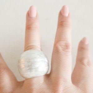 ALEXIS BITTAR Textured Lucite Block Ring Gray